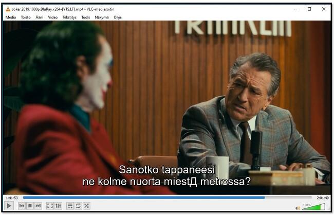 Tekstityksen näyttäminen VLC Media Player -sovelluksessa