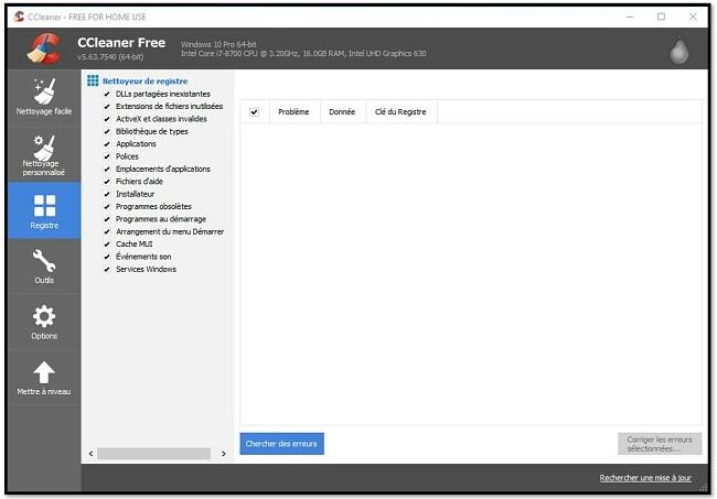 CCleaner Personnalisez votre registre