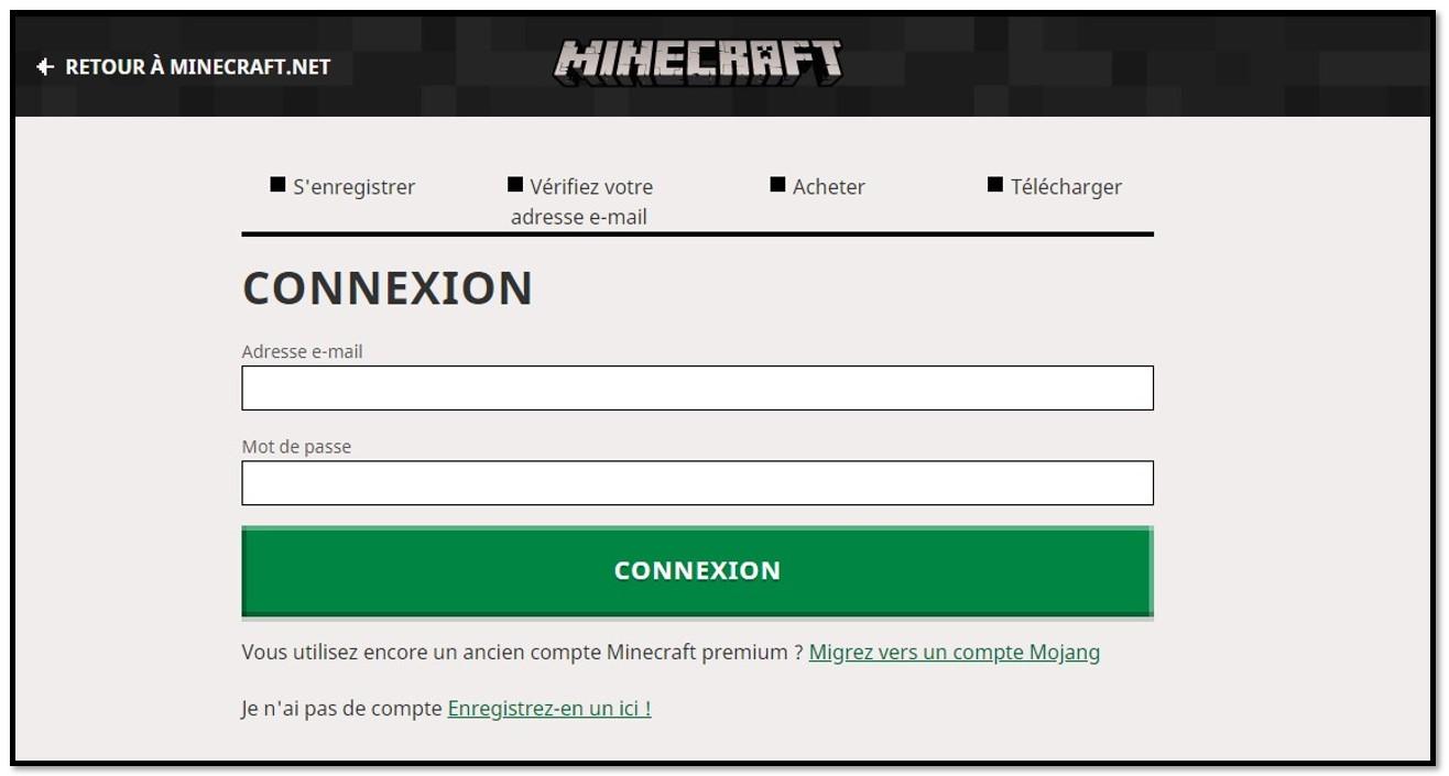 Créer un compte sur Minecraft