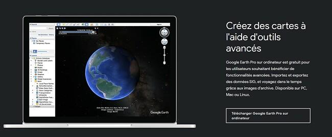 Page de téléchargement officielle de Google Earth Pro