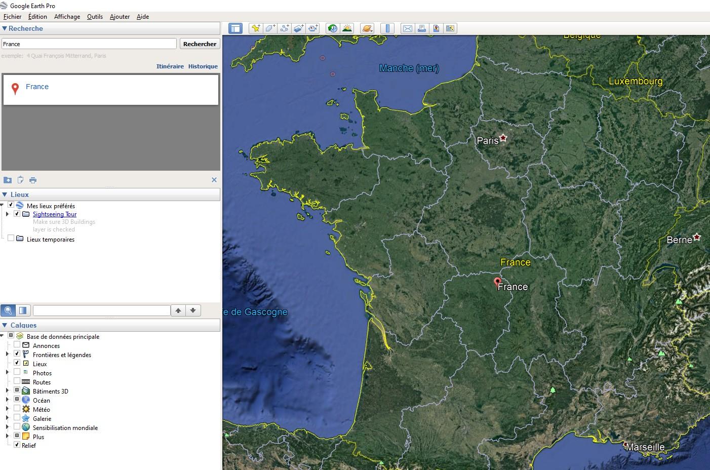 Interface utilisateur de Google Earth Pro