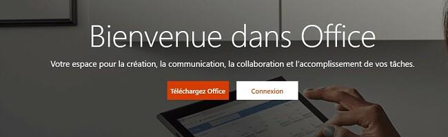 Page d'accueil de Microsoft Office