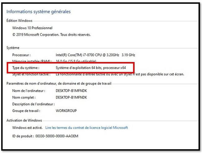 Paramètres système WinRAR