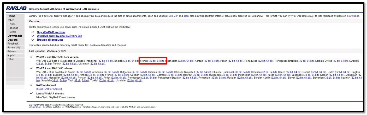Page de téléchargement de WinRAR