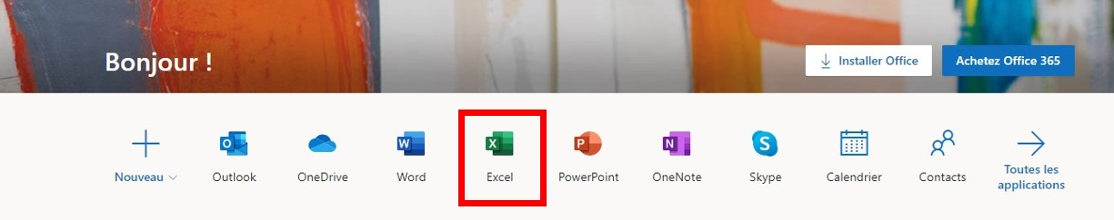 Version en ligne d'Office365 d'Excel