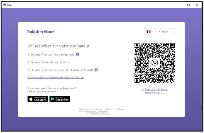 Scannez le code QR pour utiliser Viber sur ordinateur