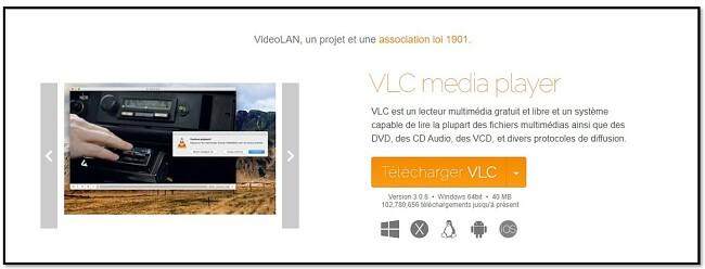 Page de téléchargement officielle de VLC