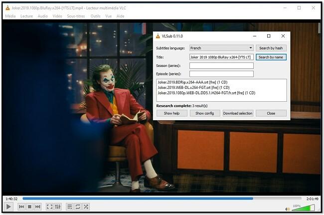 Ajouter des informations sur les médias à VLC VLsub