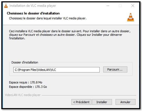 Emplacement d'installation de VLC