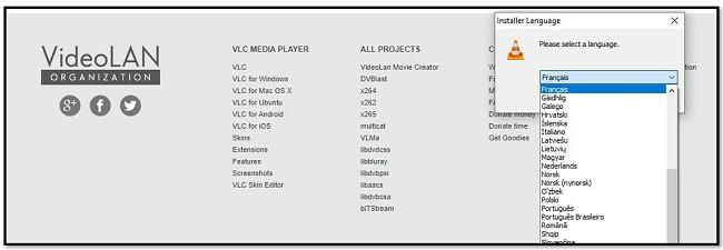 Options de langue VLC
