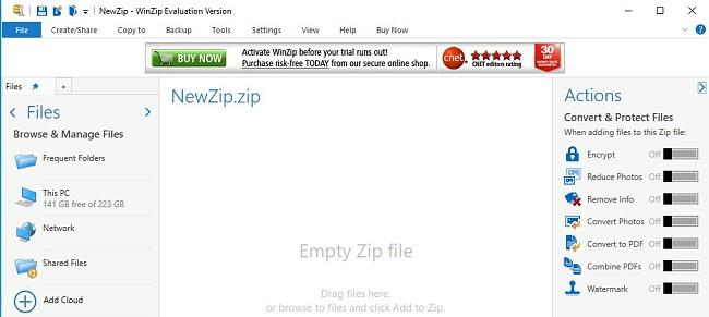 Інтерфейс файлу WinZip