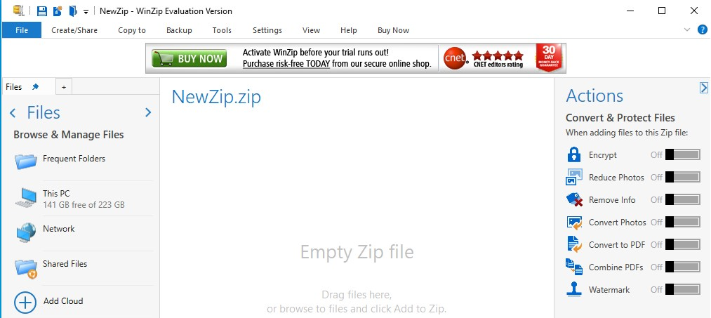 File WinZip interface