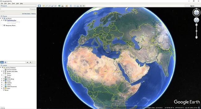 A Google Earth Pro felhasználói felülete