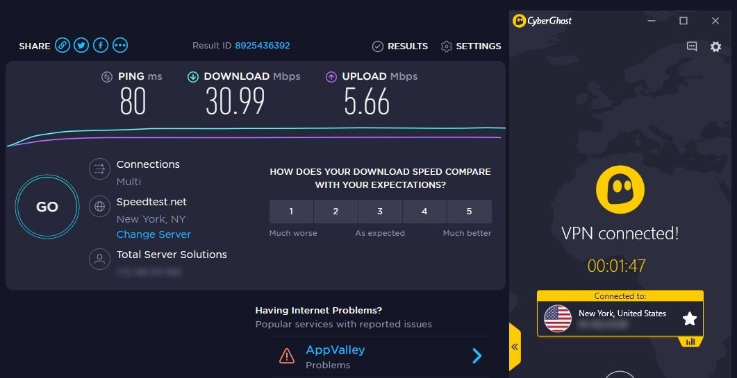 CyberGhost's optimized Disney+ server has consistently fast download speeds.
