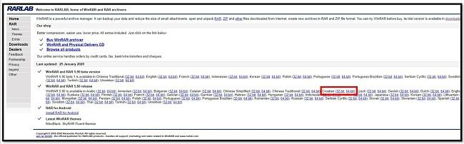 Stranica za preuzimanje WinRAR