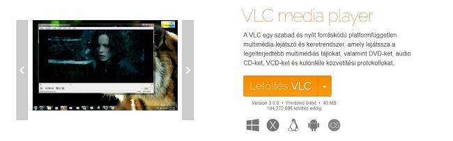 VLC hivatalos letöltési oldal