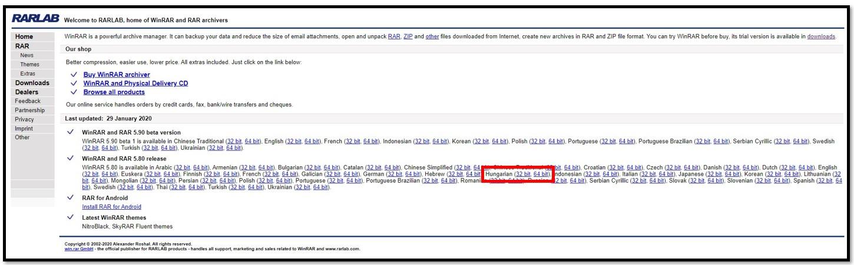 WinRAR letöltési oldal