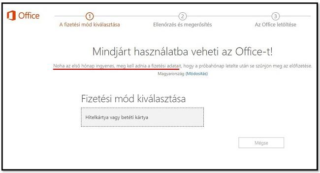 Az Office 365 első hónapja ingyenes