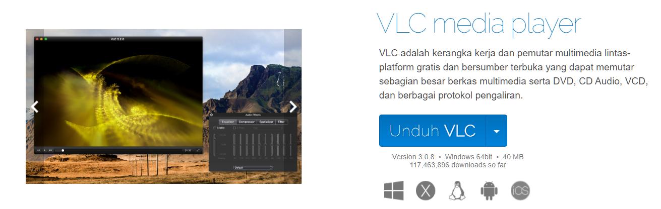 Halaman Unduh Resmi VLC