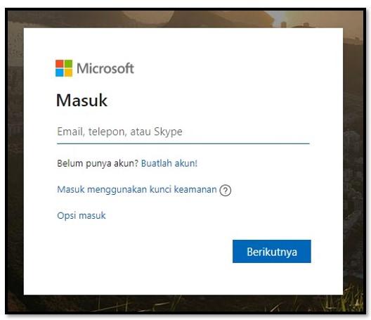 Halaman masuk Microsoft