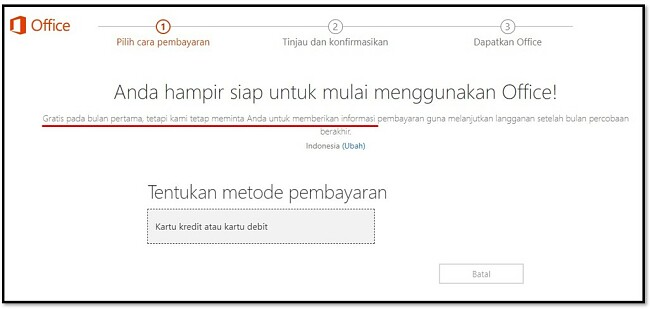 Bulan pertama Office 365 gratis
