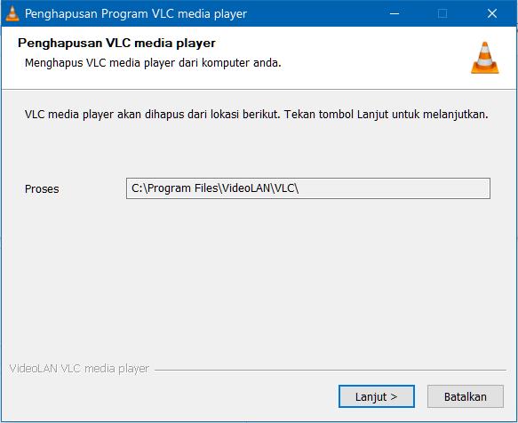 Hapus instalan VLC Media Player dari Windows