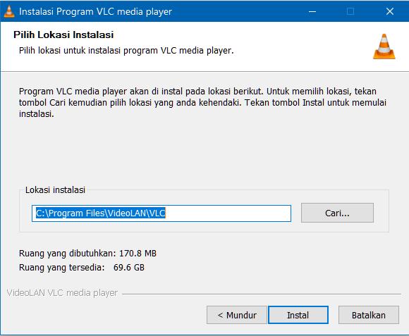 Lokasi pemasangan VLC