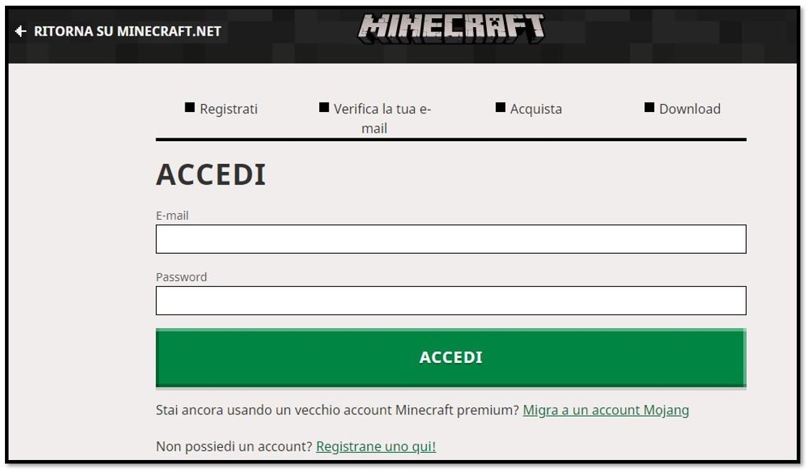Crea un account su Minecraft