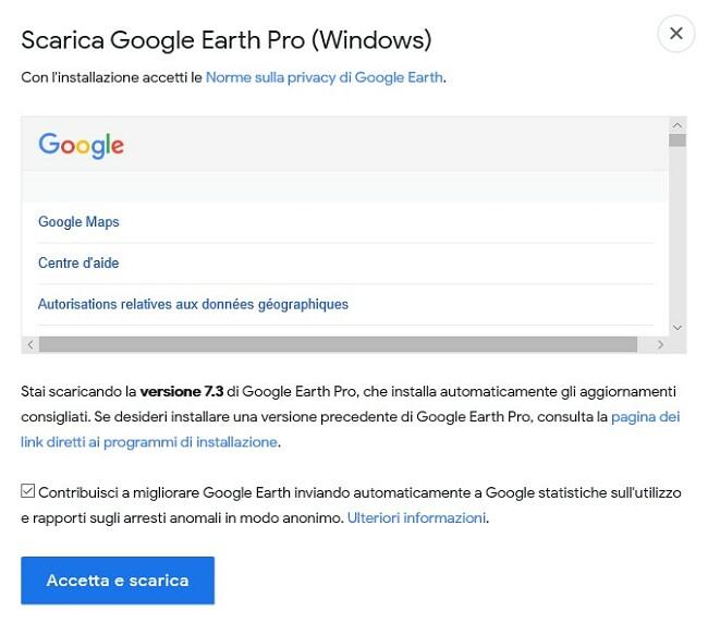 Scarica Google Earth Pro per desktop