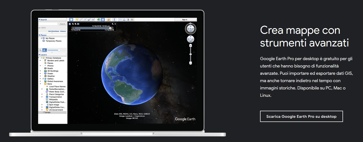 Pagina di download ufficiale di Google Earth Pro