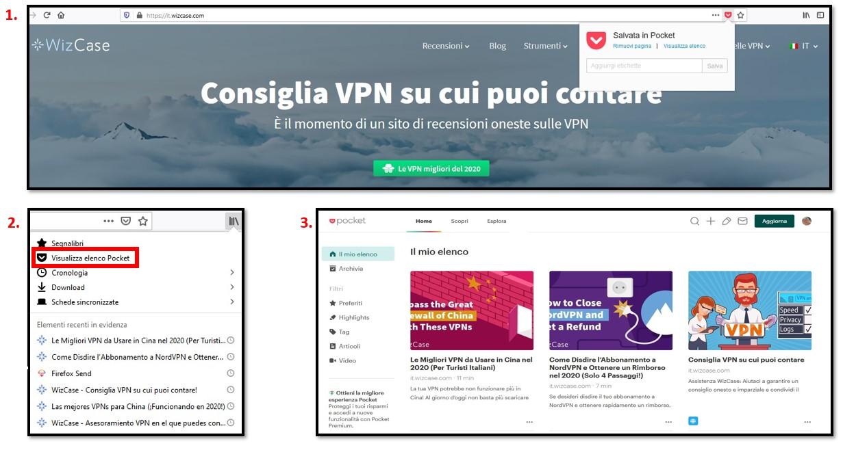 Aggiunta di articoli a Mozilla Firefox Pocket