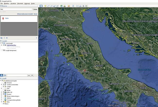 Interfaccia utente di Google Earth Pro