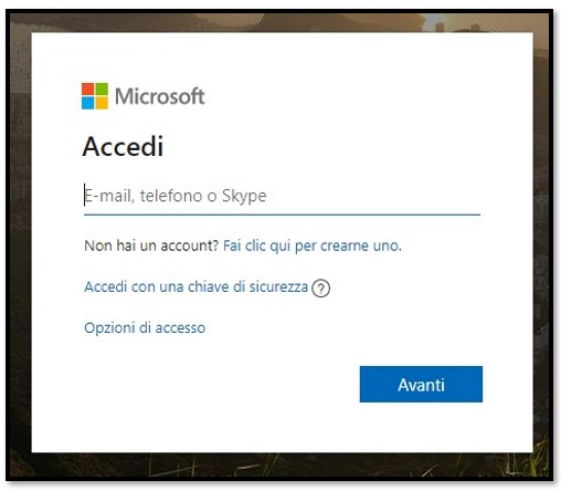 Accesso all'account Microsoft