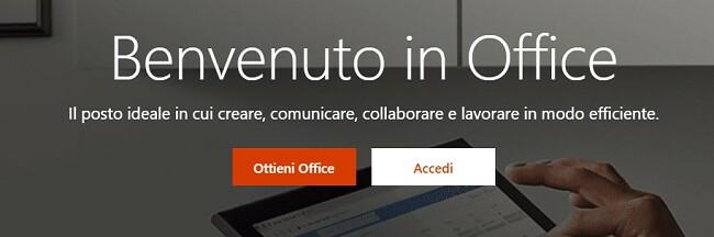 Home page di Microsoft Office