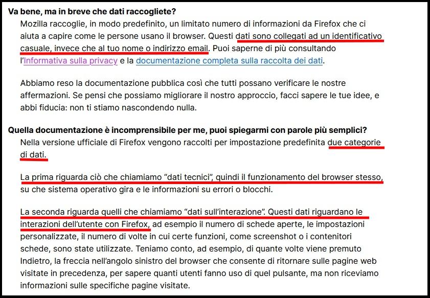 Informativa sulla privacy di Firefox