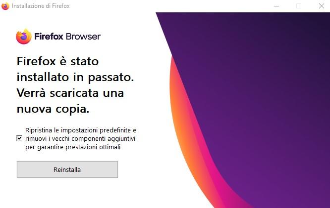 Reinstallazione di Firefox