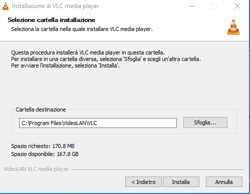 Posizione di installazione di VLC