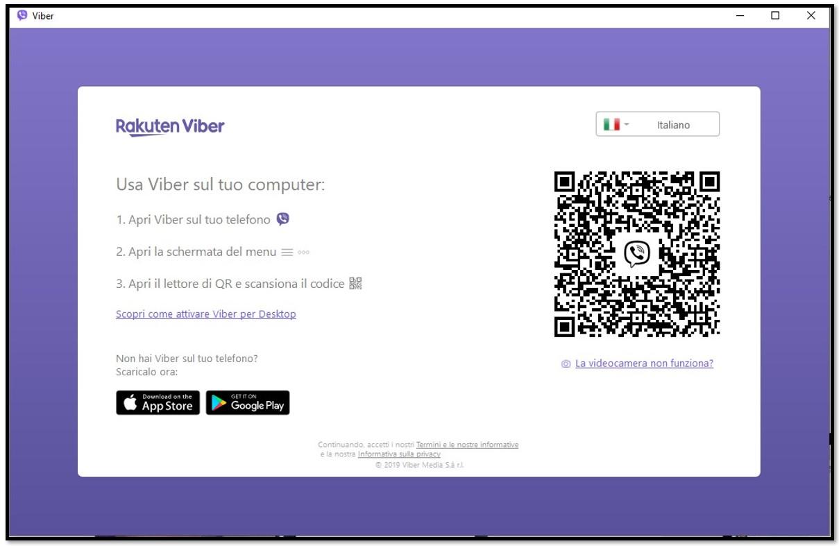 Scansiona il codice QR per usare Viber sul computer