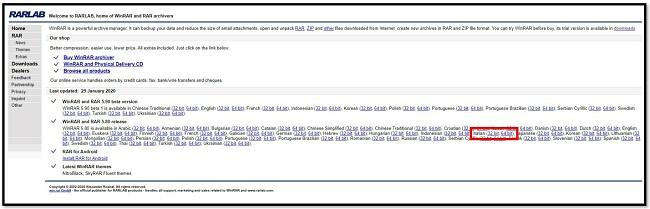 Pagina di download di WinRAR