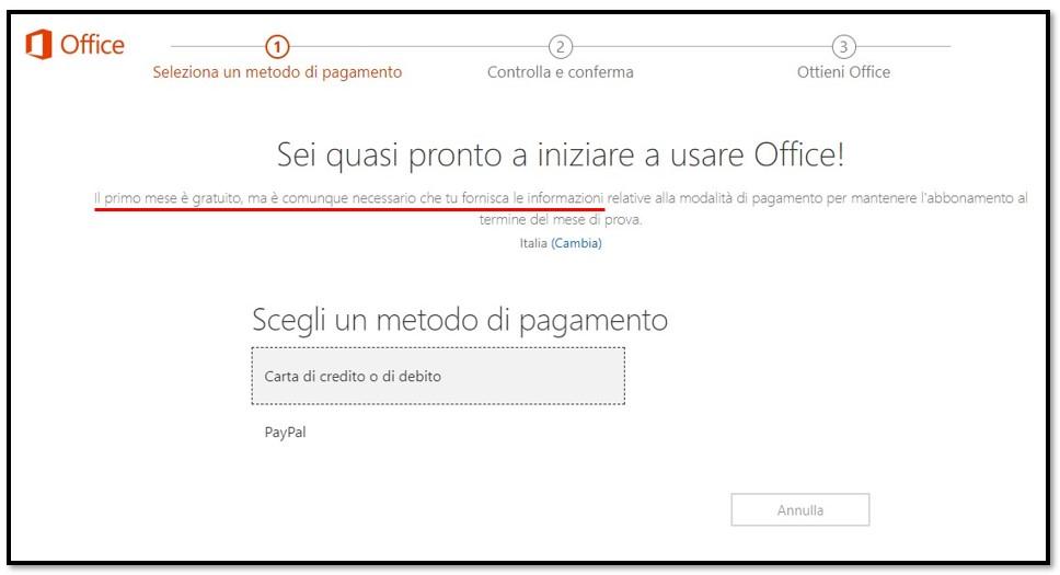 Il primo mese di Office 365 è gratuito