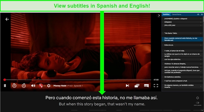Screenshot of Language Learning with Netflix Chrome extension playing Money Heist