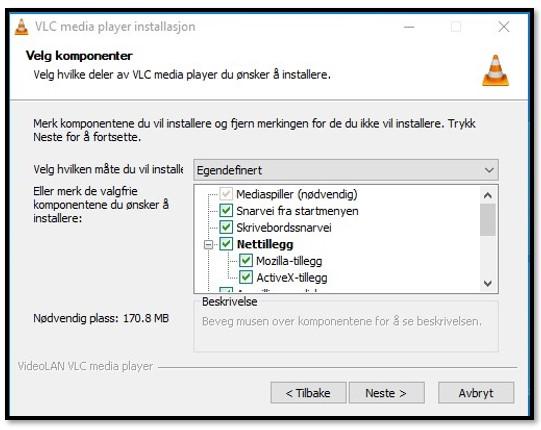 VLC-oppsettalternativer