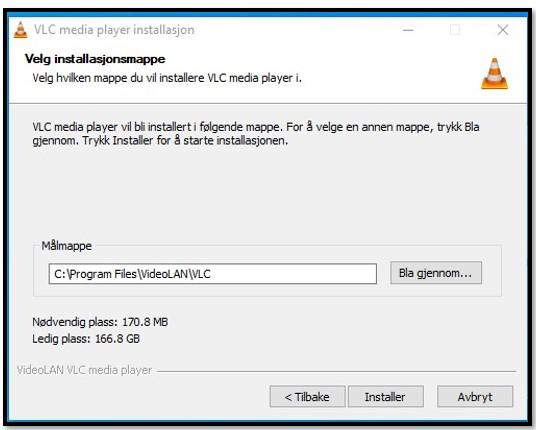 VLC installasjonssted