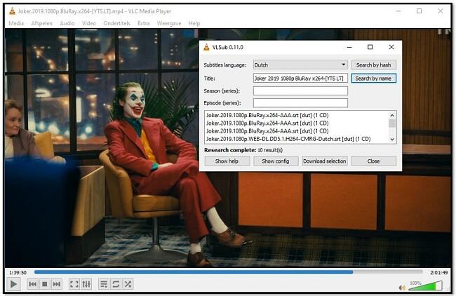 Media-informatie toevoegen aan VLC VLsub