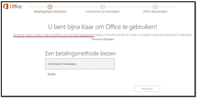 De eerste maand Office 365 is gratis