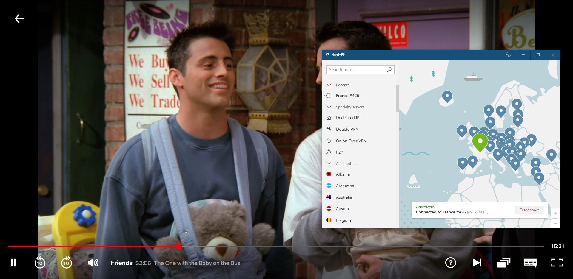 Screenshot of NordVPN connected to France with Friends playing on Netflix France