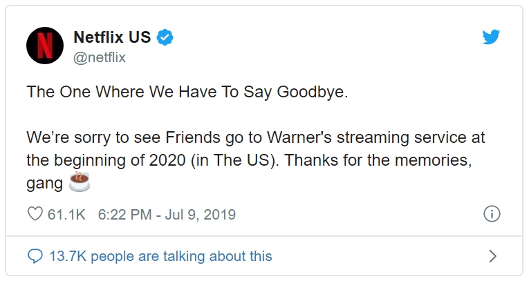 Netflix US Twitter page announcing Friend's departure from Netflix US to Warner's streaming service in 2020