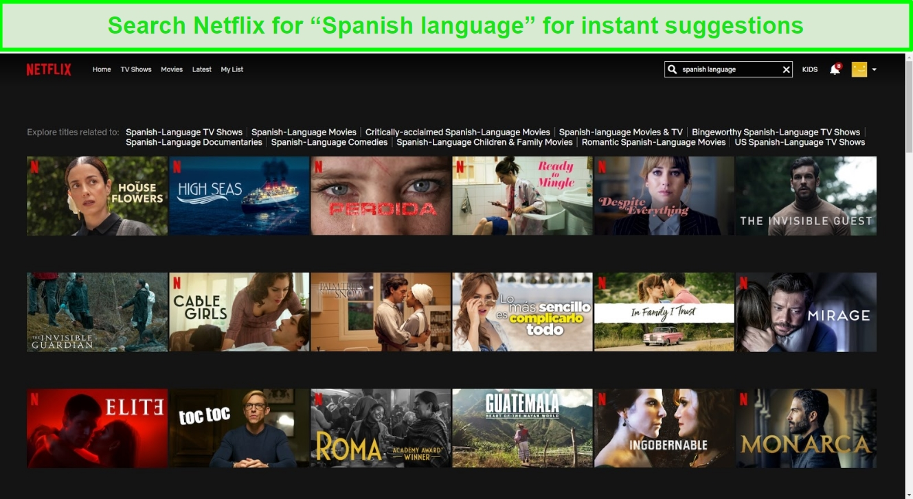 Screenshot of Netflix suggesting Spanish series when