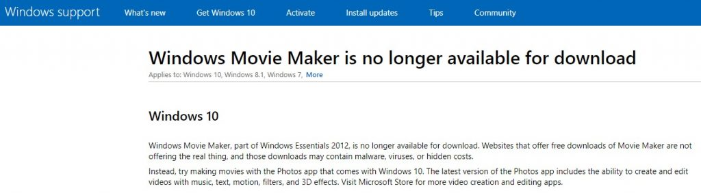 Windows Movie Maker unavailable for download