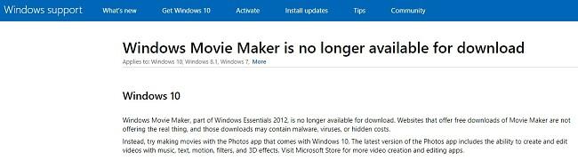 Windows Movie Maker tidak tersedia untuk diunduh